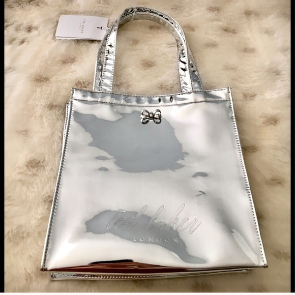 86016c94f NWT ✨✨Ted Baker Silver Metallic Doracon Tote Bag!